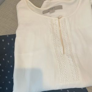 Loft Keyhole Embroidered Popover Blouse